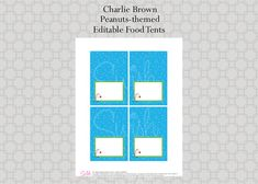Peanuts Editable Food Tents Charlie Brown Christmas Food Labels Candy Bar Tags by SwishPrintables