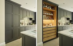 Dark kitchen pantry cupboard with oak interior and lighting. Grey black shaker style kitchen cabinets painted in 'Sinner' by Mylands of London with burnished brass handles.