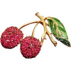 Trifari Enamel and Rhinestone Cherries Branch Brooch