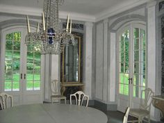 Liselund Dining Hall - Liselund - Wikipedia, the free encyclopedia French Door Windows, French Doors, Danish Interior, Danish Style, Abandoned Mansions, Manor Houses, Room Decor, Dining Rooms, Curtains