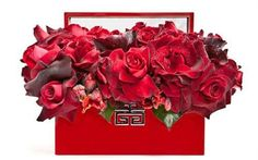 FloralArt, Contemporary Valentines Day Design of a red box filled with roses and tulips