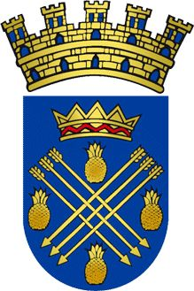 """Escudo de Caguas, Puerto Rico. Caguas is known as """"La Ciudad Del Turabo"""" (Turabo city), """"La Ciudad Criolla"""" (criole city) and """"El Corazón de Boriquén"""" (Boriquén's heart). Originally called San Sebastián del Piñal de Caguax , Caguas derives its name from a local Indian chief (Caguax) who was an early Christian convert."""