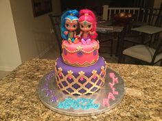 Shimmer and Shine cake I made for my twin granddaughter 's 4th Birthday.