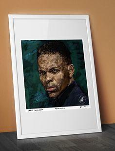 Portrait of REMY BONJASKY - K1 Champion / famous kick boxer, canvas, celebrity, artwork, decor, karate poster, best gift, watercolour by ARTandROLL on Etsy