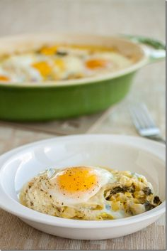 Baked Eggs with Creamy Leeks and Chard - used milk instead of cream - delicious!