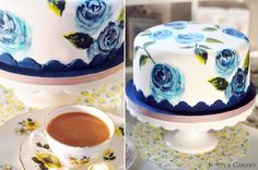 Earl Grey cake in Partnership with The Happy Egg Co. with instructions for hand painting roses