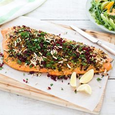 SALMON FOR CHRISTMAS! With its festive colours, this beauty is perfect for the Christmas table. This is a great one for Christmas lunch or dinner as it takes all of about 15 minutes to prepare, and only minutes to cook in the … Continued Salmon Recipes, Veggie Recipes, Fish Recipes, Seafood Recipes, New Recipes, Cooking Recipes, Party Recipes, Yummy Recipes, Recipies