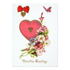 "Valentine Flowers 5"" X 7"" Invitation Card"