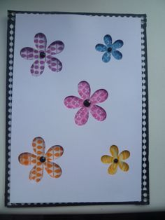 Card - flowers cut using Silhouette Cameo, backed with washi tape and black gems as centres