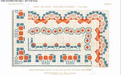 D.M.C. Point de Croix Nouveaux Dessins 2me Série, page 3, c. 1905. More stunning art nouveau and Provençale charted cross-stitch designs. Red and blue borders and corners.