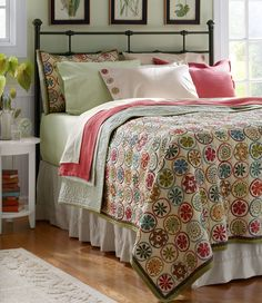 This 100% cotton quilt is handmade in the style of traditional, whole-cloth quilts to highlight the handsome floral fabric. Breathable and suitable for year-round use, even in warm months. Coordinating sham sold separately. 100% cotton. Machine wash, line dry. Handquilted in a circular design. Vintage floral pattern reverses to a coordinating stripe. Sham has an envelope closure. Quilt and sham sold separately. Price reflected for a single sham. Imported. Home Bedroom, Bedroom Decor, Bedroom Ideas, Bedroom Designs, Dream Bedroom, Bedroom Small, Bedroom Colors, Small Bathroom, Bedroom Furniture