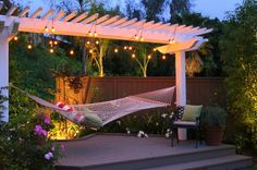 Backyard hammock with hanging lights