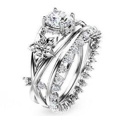 White Gold Plated Flower 925 Sterling Silver Engagement Ring with Eternity Created Diamond Band