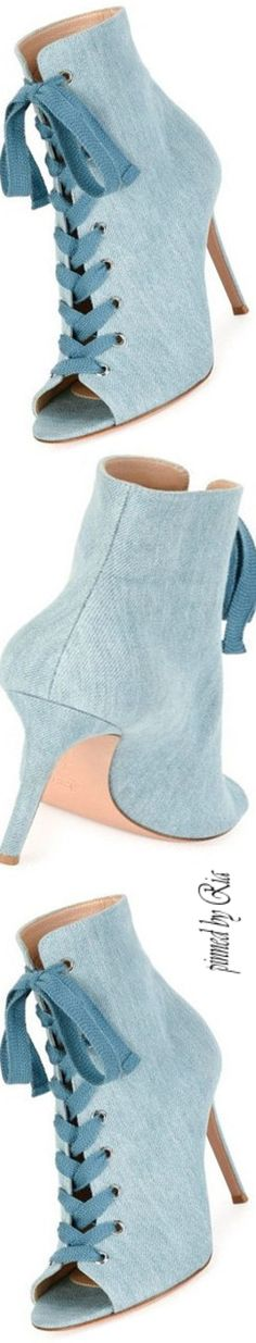 Gianvito Rossi 2017 Blue Denim Booties l Ria