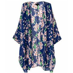 Women's Floral Print Sheer Chiffon Loose Kimono Cardigan Capes - S ($9.99) ❤ liked on Polyvore featuring tops, cardigans, floral cardigan, blue floral top, floral cardigan kimono, cardigan kimono and kimono cardigan
