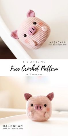 Crochet an adorable and simple amigurumi pig with this free pattern by Haincha. Crochet Kawaii, Crochet Pig, Crochet Amigurumi Free Patterns, Crochet Animal Patterns, Cute Crochet, Crochet Dolls, Crochet Animals, Crotchet, Simple Crochet Patterns