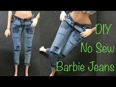DIY Barbie Jeans No Sew Tutorial. no sew clothes for barbie miniature barbie diy dolls makeover, doll house, polymer clay barbie and jeans diy barbie tutoria. Sewing Barbie Clothes, Barbie Sewing Patterns, Barbie Dolls Diy, Sewing Dolls, Barbie Dress, Doll Clothes Patterns, Diy Clothes, Barbie Barbie, Diy Ripped Jeans