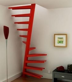 These days, a concrete staircase is really famous for a modern house. The design of staircase with its concrete material is simple and easy to make. It is another option for you who want to design you Small Space Staircase, Space Saving Staircase, Attic Staircase, Loft Stairs, Spiral Staircases, Spiral Stairs Design, Staircase Design, Staircase Ideas, Attic Playroom