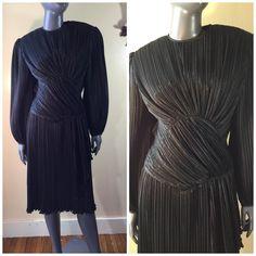 Vintage 80s Black LBD origami micro pleats by 3GenerationCuration #vintage #thrift #fashion #dress #lbd #80s #90s #unique #rad