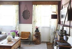 i love the faux bois valances in this room. easy enough to achieve with contact paper .