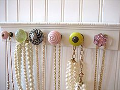 love it!  different drawer knobs for hanging jewelry!