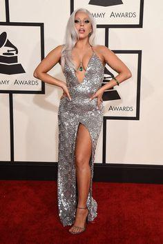 Lady Gaga  silver dress grammy awards 2015