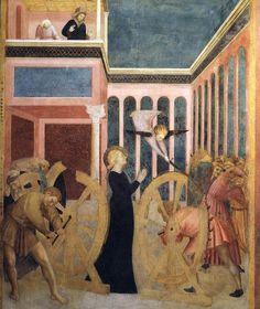 Masolino ~ Het wonder van het wiel ~ Taferelen uit het leven van de heilige Catherina ~ ca. 1425-1431 ~ Fresco ~ Capella Castiglione, San Clemente, Rome