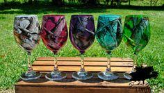 Camo Wine Glass // Next Vista //  Pink Camo // Orange Camo // Turquoise Camo  - more colors available!!