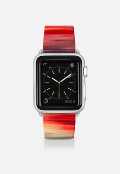 "Get $10 off using code: 5K7VFT ""Irradiated - Red"" By Artist Julia Di Sano, Ebi Emporium on #Casetify Deep Crimson Cherry Garnet Red Purple White Girly Chic Abstract Sunset Coastal Modern Cool Abstract Fine Art Stripes Pattern Colorful Fun Design Apple Watch Band (38mm or 42mm) by Ebi Emporium 