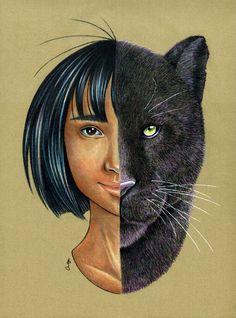 Mowgli & Bagheera Art Print