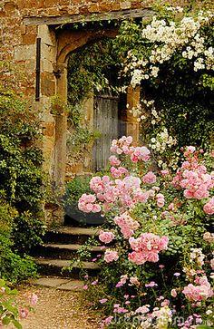 steps in a medieval garden