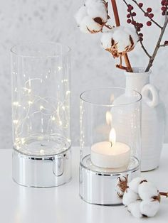 Clear Glass Tealight Hurricanes - Nordic house