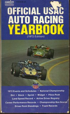Vtg Hot Rod Book Official USAC Auto Racing Yearbook 1972 dirt stock midget race