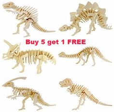 3D Wooden Puzzle Dinosaur Buy 5 get 1 FREE