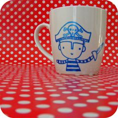Hand painted china mug with a pirate and sword £9.00