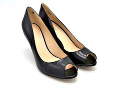 9a6b9d5ff9 D861 New Women's Nine West Orissa Black Leather Open Toe Pump 10.5 M  #fashion #