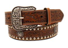 Ariat Western Mens Belt Leather Embossed Studded Floral Brown A1024802 #Ariat
