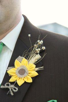 Rustic wedding fabric flower sunflower boutonnieres by darlyndax, $14.00