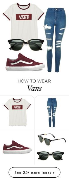 """[-Vans-]"" by eemaj on Polyvore featuring Vans, Topshop and Ray-Ban"