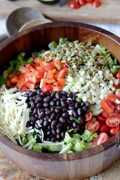 Southwest Salad with Creamy Avocado Salsa Dressing