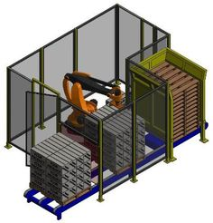 Modular Robotic Palletizing System: This system is primarily used to stack one or two products at a time. It handles a large variety of packaging types including corrugated cases and trays, poly and kraft bags, shrink-wrapped bundles, and pails.