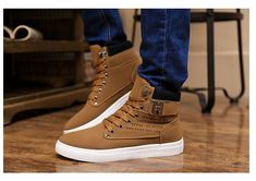 2014 New Zapatos de Hombre Mens Fashion Spring Autumn Leather Shoes Street Men's Casual Fashion High Top Shoes Canvas Sneakers-inMen's Fashi...