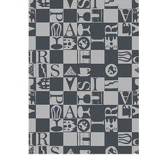 Tea Towel, Bistro, Black | Garnier-Thiebaut  ~  Sélection mois du blanc - Essuie-main Garnier-Thiebaut - Modèle : Bistrot - Essuie-main en coton - Coloris : noir
