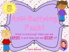 Bestseller: Anti-bullying Activity Pack!  - Bully Prevention Month is coming up in October! I created this packet to help my students understand what bullying is and isn't, how we can SPOT bullying, and how we can STOP it. This bundle has been featured on TES Resources and is one of my top sellers! Enter in to win it!.  A GIVEAWAY for NEW Anti-Bullying Activity Pack: How to SPOT and STOP Bullying! from KatiesKiddos on TeachersNotebook.com (ends on 9-23-2016)