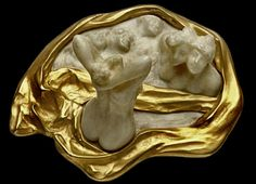 René Lalique 'Bathers' Brooch 1900 signed: ivory carved in high relief w/in a textured gold & ivory surround, mounted in 18k gold | Christie's