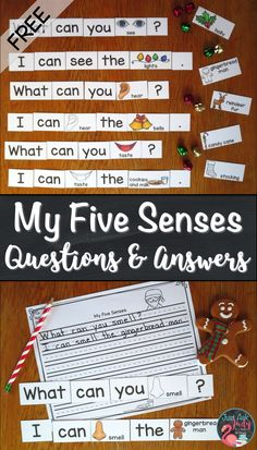 Check out this free hands-on activity, perfect for kindergarten or first grade language or literacy instruction, using tabletop sized (1 ½ inches high) word, punctuation, and picture/ word cards to construct questions and answers about the five senses with a Christmas theme.