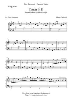 Canon In D Free Easy Piano Sheet Music More