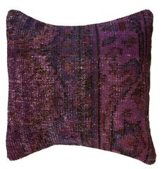 $89.99 Overdyed Eggplant Pillow: Add a global accent to your bed or sofa with this overdyed pillow in a rich eggplant hue. Hand-knotted in Turkey from vintage overdyed rugs, this wool pillow is truly a one-of-a-kind.