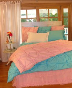 Bedding for teens peach and teal bedding teen girl bedding turquoise and pink horse bedding for . Teen Girl Bedding, Teal Bedding, Teen Girl Rooms, Teen Bedroom, Bedroom Sets, Dream Bedroom, Turquoise Bedding, Horse Bedding, Colorful Bedding