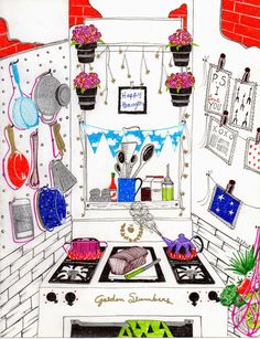 kitchen dreams by Ileana Perez-Monroy Gel pen Illustration.